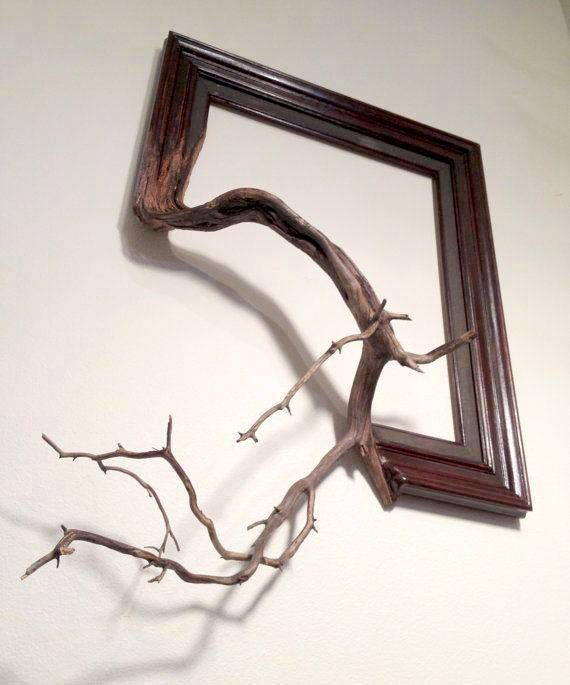 Frame & wood branch as one