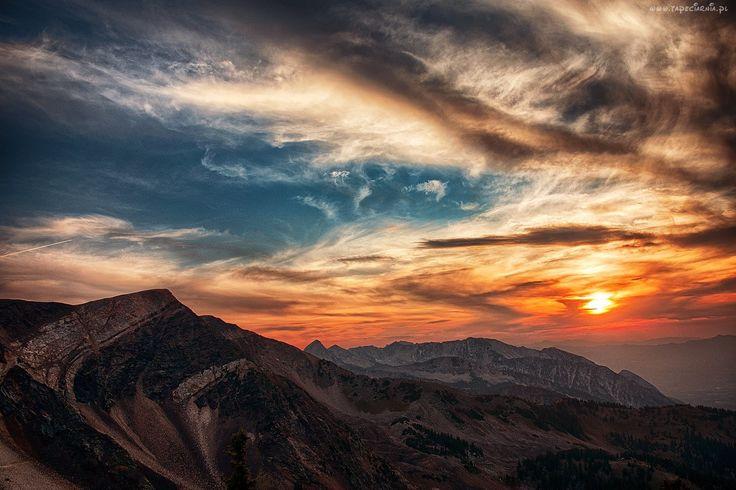 USA, Utah, Góry, Niebo, Chmury, Zachód, Słońca