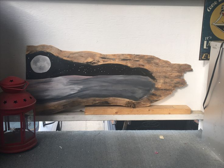 Acrylic on Pine Beetle wood. I used a knot in the wood to make the moon
