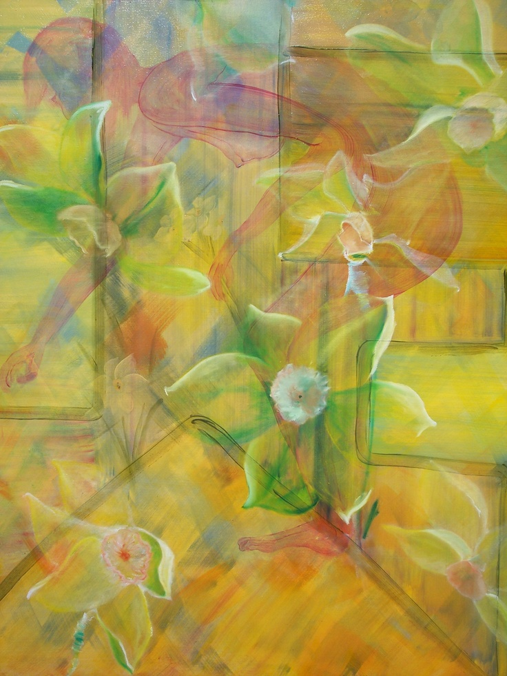 Julie Proudfoot - Oil on Canvas - 48x60 inches - 'Picking Flowers' Exhibiting at View Point Handmade Gallery May 4th-24th