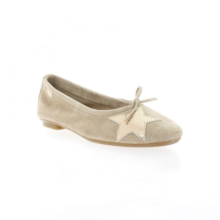 Ballerines Reqins chaussures cuir velours beige Hello peau Bubblle