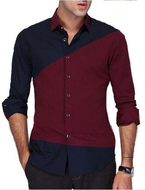 Camisa Casual Fashion Moderna en Dos Colores en Contraste - en Azul, Negra y Vino