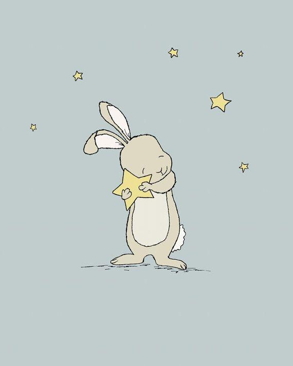 Bunny Nursery Art, Bunny Holds Star, Catch A Falling Star, Bunny Art, Woodland Nursery, Children Art, Kids Wall Art, Bunny Nursery Art – Claudiz