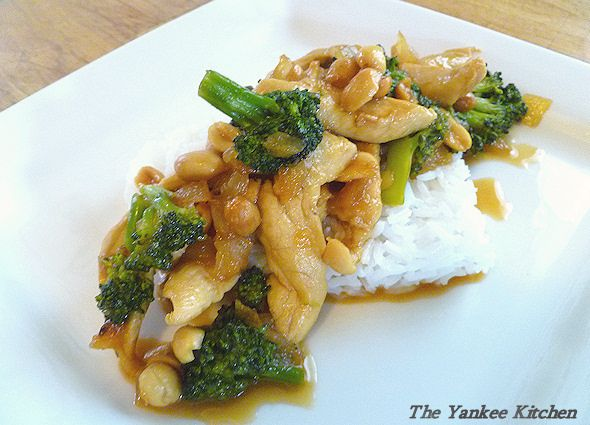 pineapple chicken stir fry with peanuts and broccoli.  Yummy and quick.  I used apricot-pineapple preserves and frozen chicken strips