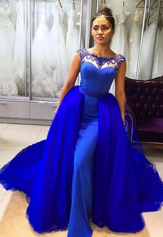 Detachable Skirt Prom Dresses Royal Blue Beaded Sleeveless #prom #promdress #dress #eveningdress #evening #fashion #love #shopping #art #dress #women #mermaid #SEXY #SexyGirl #PromDresses
