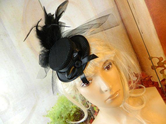 Minihat Summerhat Pinstripes Gothic Victorian Tophat Fascinator Minizylinder Steampunk Burlesque Larping Wedding Costume