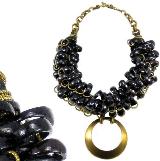 Jewellery by Karen natural seed and brass bib necklace with pendant.  Details: http://jewellerybykaren.com/boutique/necklaces/necklace-939n