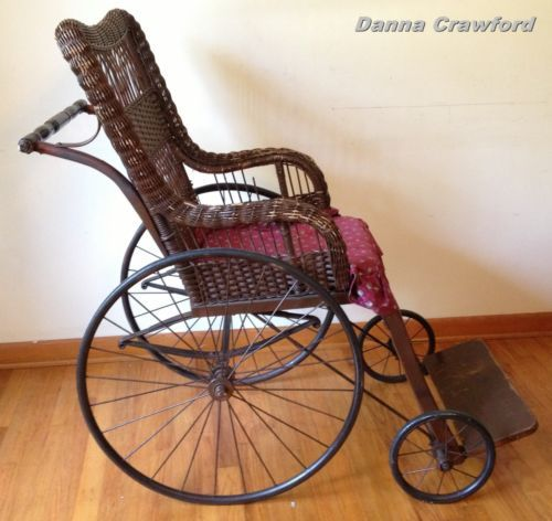 ANTIQUE Wicker CANED WHEELCHAIR Weaved Brown SOLID Old