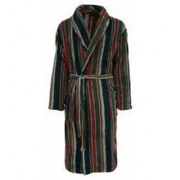 Verticaal gestreepte herenbadjas in de kleuren rood, grijs en zwart