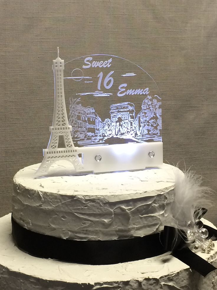 Personalized Paris Eiffel Tower, Paris Dream Cake Topper for Sweet 16, Personalized,led Light