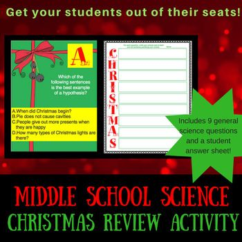 Practice with the basics of scientific investigations to prepare for your final days before break! Students will review making a hypothesis, variables, experimental error, and bias. Print the 9 questions and hide them around your room or wherever. Students will be allowed to get up and walk around, but still work with their