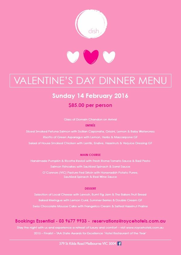 Indulge in a 3 course set dinner & a glass of Domain Chandon on arrival this Valentines Day - Sunday 14 February 2016