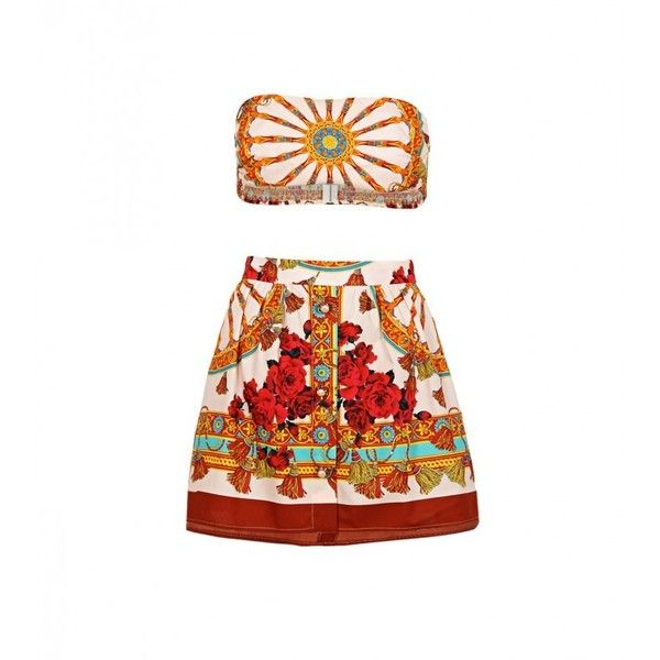 Dolce & Gabbana Multi Coloured Cotton Printed Two Piece ($845) ❤ liked on Polyvore featuring dresses, skirts, bandeau top and bandeau bikini top