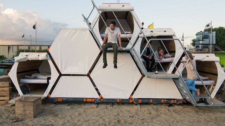 Stackable cells allow you to sleep on top of your friends at music festivals