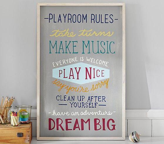 Playroom Rules Art   Pottery Barn Kids