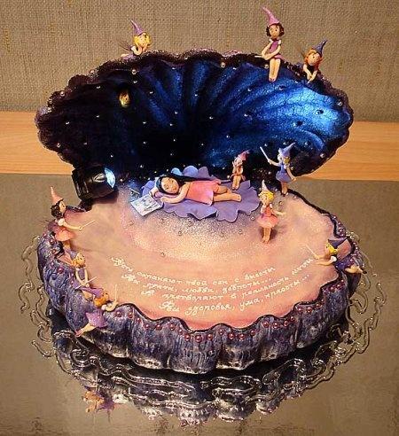 "Торт для девочки ""Ракушка с феями"""