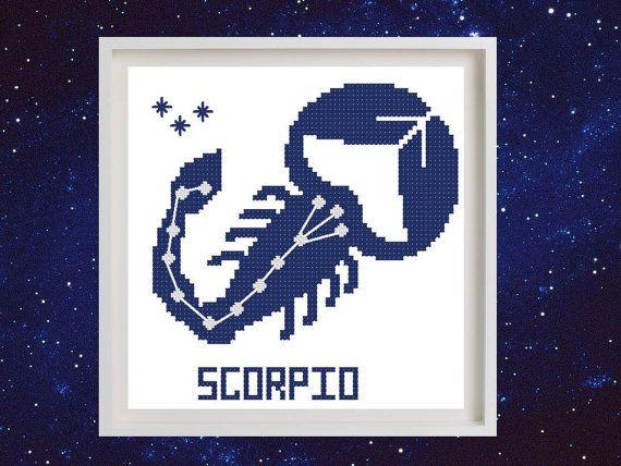 Схема для вышивания крестиком Знак зодиака Скорпион. Схема вышивки крестом…
