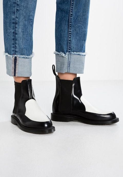 Boots, Black ankle boots, White dr martens