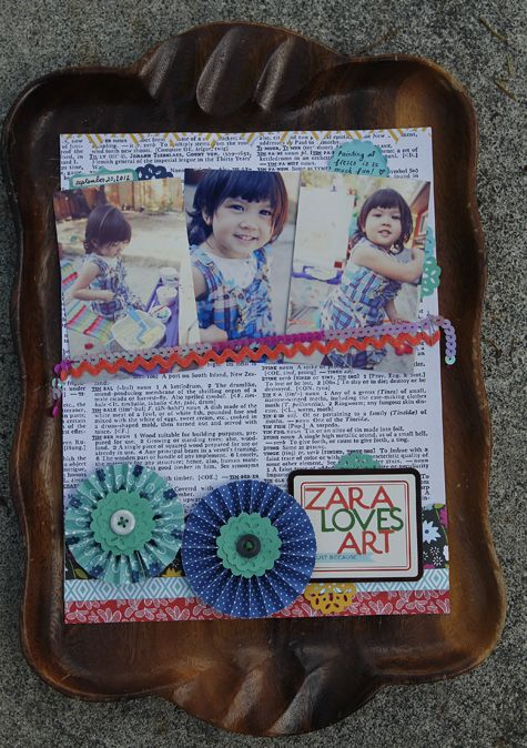 Zara Loves Art - by Cathy Pascual using the SoHo Garden collection from American Crafts. #scrapbooking #paper