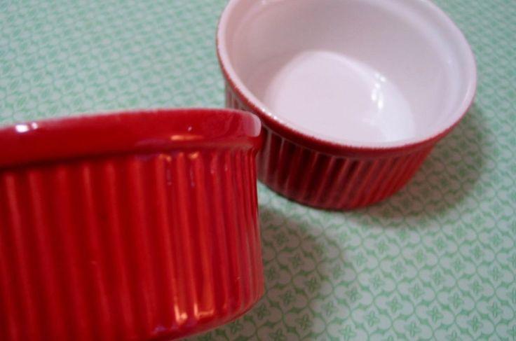 2 Emile Henry France Ramekins Custard Cups Creme Brulee Red Stoneware Bakeware  #EmileHenry