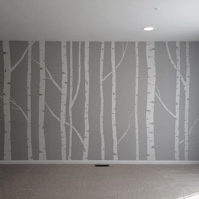 Hand painted birch tree wall mural made by taping off for Birch trees wall mural