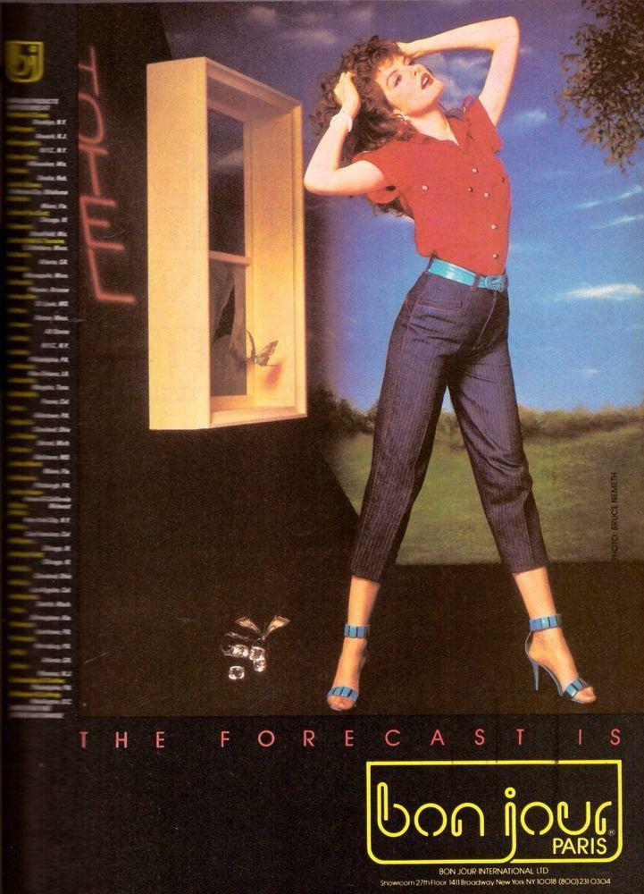 1983 Bonjour Jeans Rene Russo Print Ad Advertisement Vintage VTG 80s | eBay
