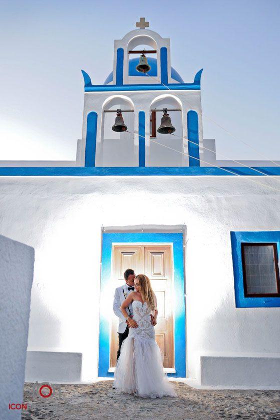 Blue and White Church Bells - Santorini Wedding Greece