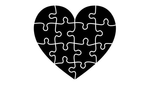 Serce, Puzzle, Portret, Emocje