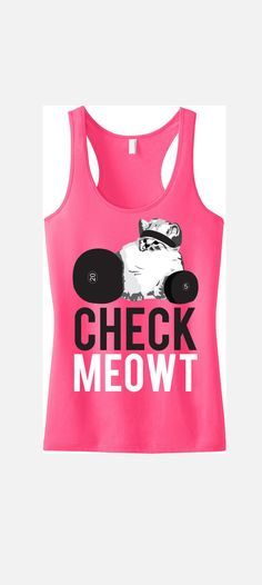 CHECK MEOWT Pink Workout Tank Top Workout by NobullWomanApparel, $24.99 on Etsy.