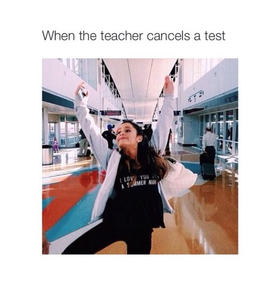 Today is my fourth day of junior year and this is what happened to me today in fourth hour we were supposed to have a quiz and when she said our quiz was canceled because she didn't make enough copies this was literally us. ☺