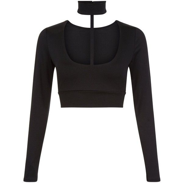New Look Parisian Black Choker Long Sleeve Crop Top ($20) ❤ liked on Polyvore featuring tops, black, cropped tops, long sleeve crop top and long sleeve tops