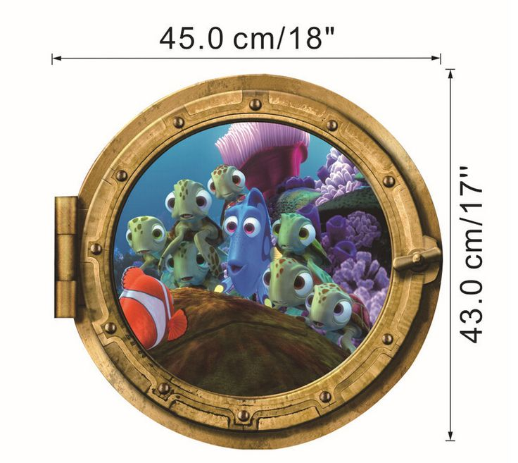3D floor Finding Nemo Cute Dory wall decals mural stickers for kids rooms
