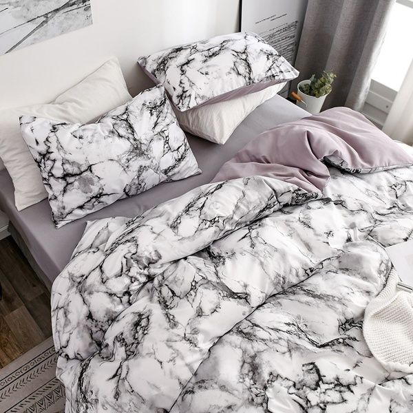Marble Grain Duvet Cover Pillow Shams Set Special Grain Soft Cotton Comforter Cover Pillowcase Set Single Twin Double Full Queen King Sizes Quilt Cover Set In 2020 Bedding