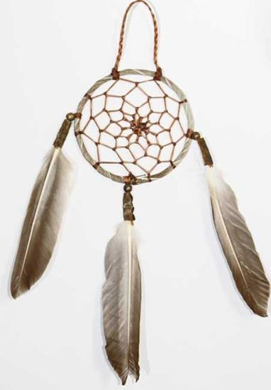 """Native American 3"""" Dream Catcher Antiqued leather for sale.- Decorative Navajo Arts and Crafts on foutztrade.com #nativeamrican #navajo #Artifacts #Crafts #Southwestern #NavajoMade #NavajoIndian #Handmade #HandPainted"""