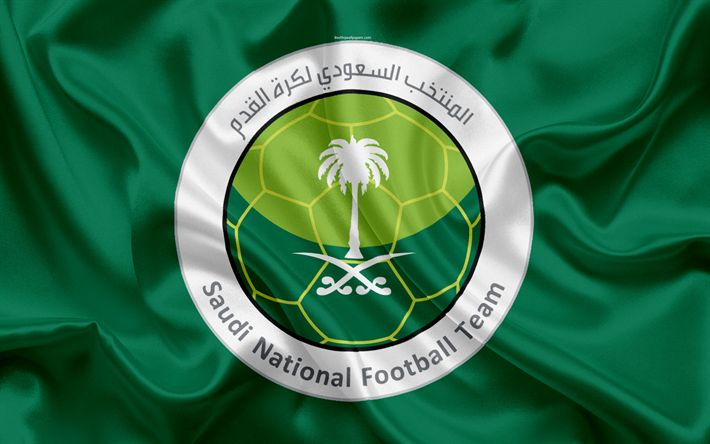 Download wallpapers Saudi Arabia, national football team, logo, emblem, flag of Saudi Arabia, football federation, World Championship, football, silk texture
