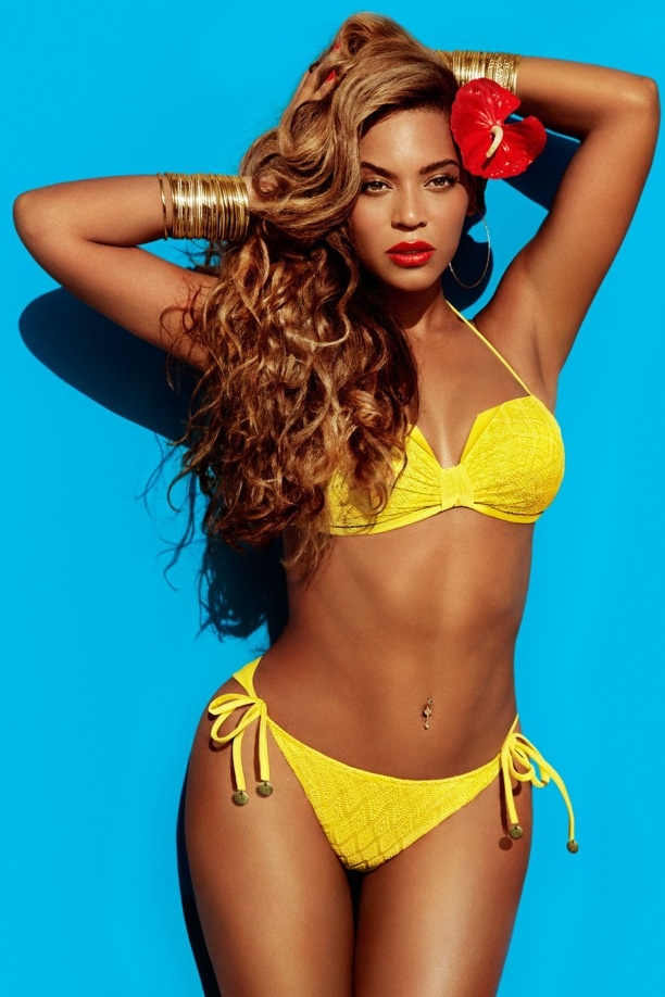 yellow bikini! Beyonce, H & M summer swim