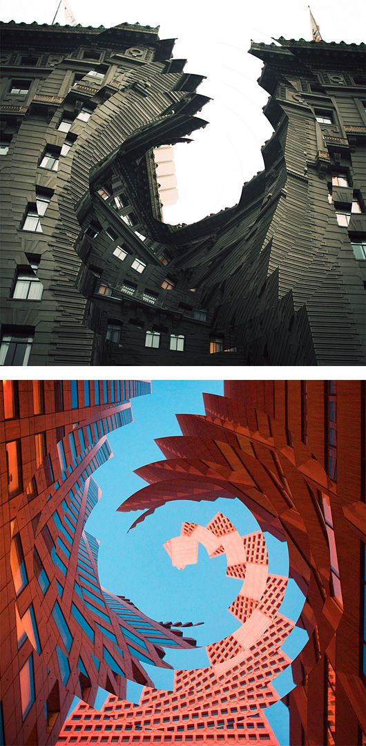 """Great photo manipulation series by Nicholas Kennedy Sitton.    """"These photos are a result of how intriguing the concept of distortion translates to architecture. It creates a sense of falling into itself, like capturing a moment of demolition. I can destroy titanous steel structures with the click of a mouse and create new twisted versions of reality."""""""