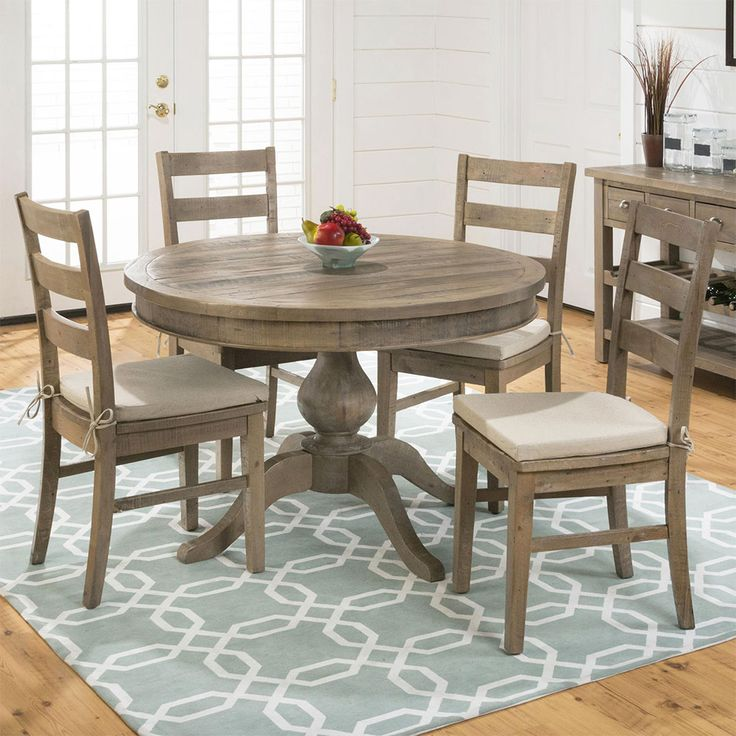 Jofran Slater Mill Round To Oval Pedestal Dining Table In