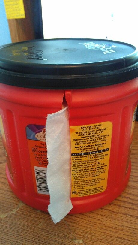 There were no instructions with this pin I found, but it looks pretty simple to do. It's a smart idea to keep your roll of toilet paper clean & dry and easy to use! Simply cut a slit in the side of a plastic coffee container, feed the TP through the slit & put the lid on.