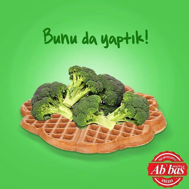 Her şeyin en tazesi, en temizi derken sonunda bunu da yaptık! Karşınızda brokolili waffle! ☺️ #1Nisan #AbbasWaffleAnkara