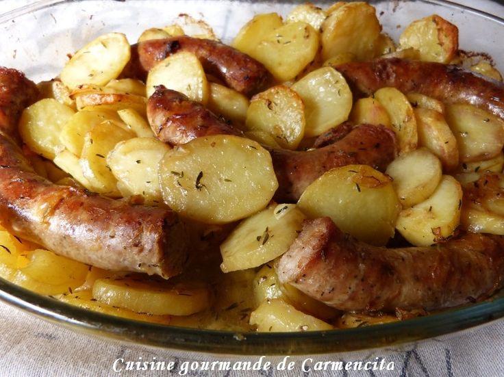 Saucisse de Toulouse confite et pommes de terre fondantes