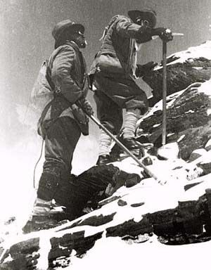 George Mallory leads up the Northeast Ridge of Mount Everest on the 1922 British expedition in an historic photo by expedition leader John Noel.