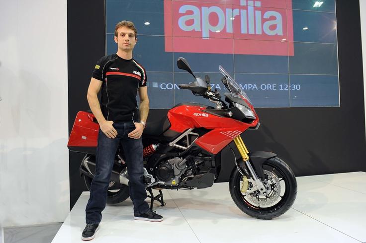 Sylvain #Guintoli meets the new #Aprilia Caponord 1200