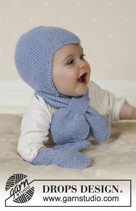 Baby Aviator Hat / DROPS Baby 14-16 - DROPS sættet består af: Djævlehue, halstørklæde og vanter.