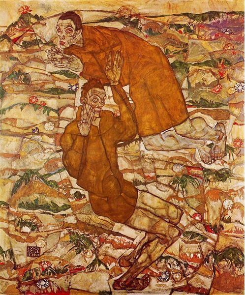 Egon Schiele, Levitazione, 1915, olio su tela. Collezione privata.