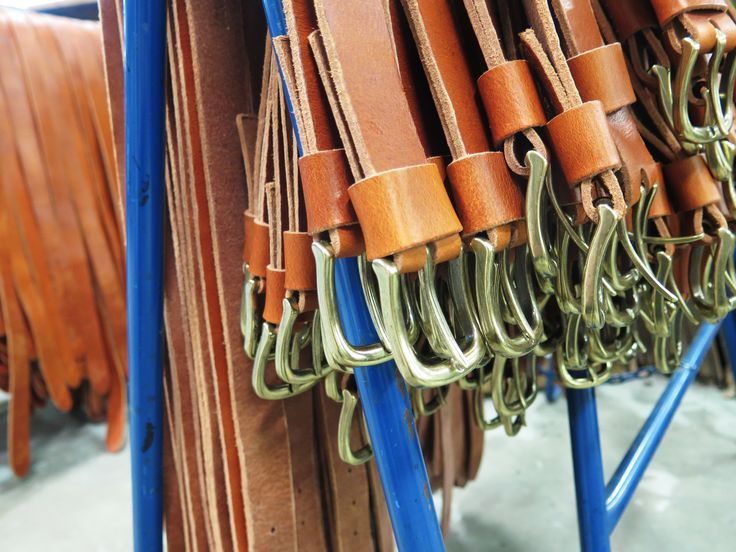 Leather belts, ready to be picked up.