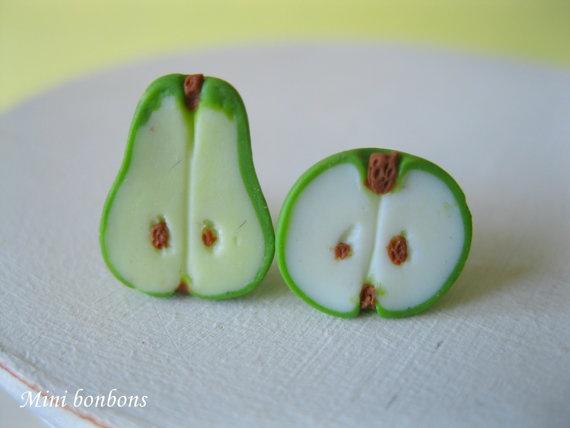 Apple and pear earrings   post/stud earrings  by Minibonbons