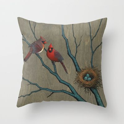 Winter Cardinal Family Throw Pillow by Kate Halpin  - $20.00