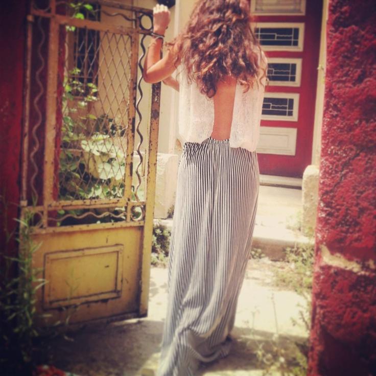 Let the Astakos Dress travel you to a more vintage, more romantic era...  #madameshoushou #madame shou shou #longdress #dress #lace #stripes #blackandwhite #vintage #retro #romantic #decor #style #fashion #greekdesigner #curlyhair #longhair #door #oldbuilding #cute