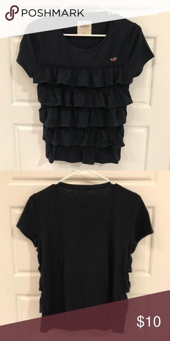 Hollister Navy Ruffled Top Hollister Navy Ruffled Top  - Size M - good condition Hollister Tops